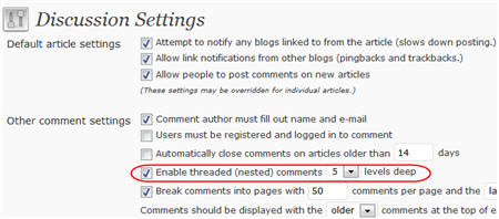 Enabling nested comments