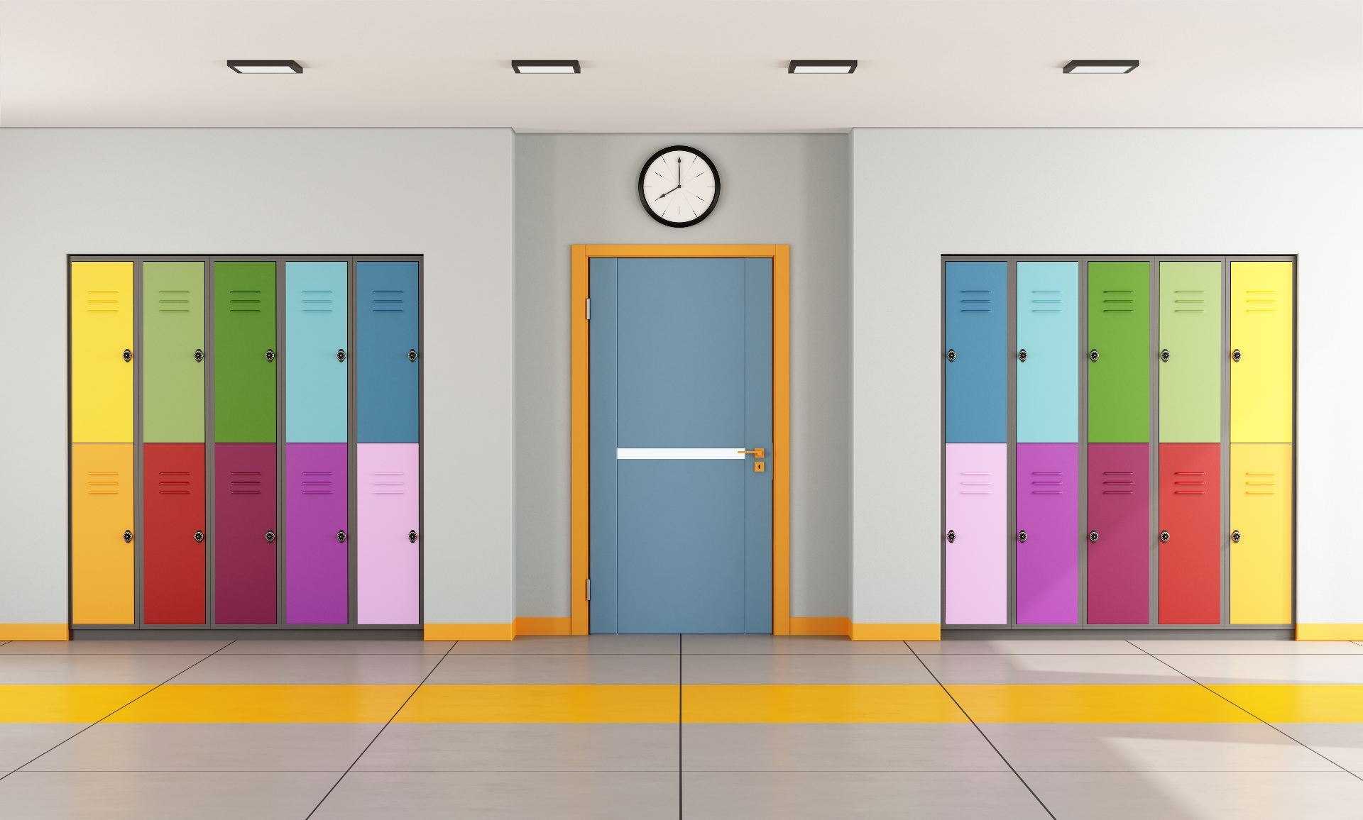 Colorful lockers in a school corridor either side of a door