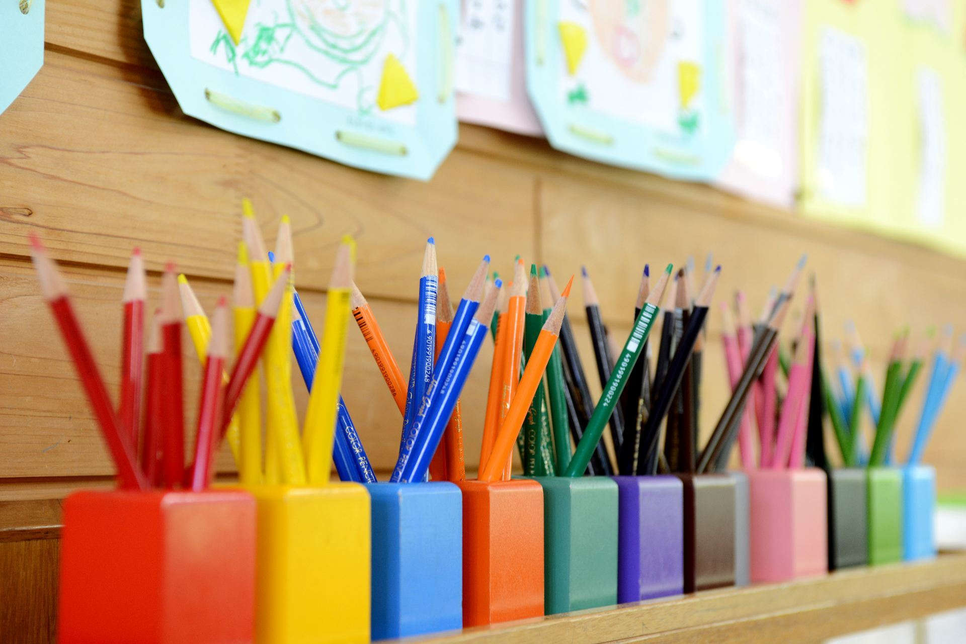 Pencils in classroom