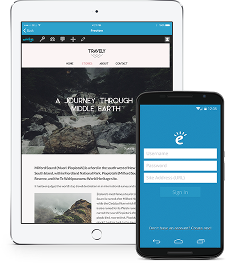 edublogs app open on mobile devices